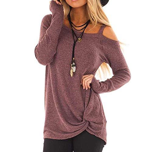 ➤Refill➤Damen Tshirt Oberteile Pulli Langarmshirt Rundhals Ausschnitt Hemd Sweatshirt,Asymmetrisch Saum Sportswear-Shirts & Blusen für Damen Bluse Tops