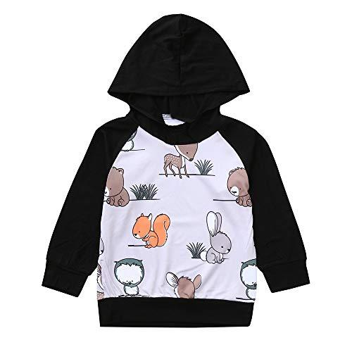 Kleidung,Transwen Mode Infant Baby Jungen Mädchen Langarm Kapuzen Eichhörnchen Animal Print Tops Hoodie Sweatshirt Pullover Tops Outfits (90, Schwarz)