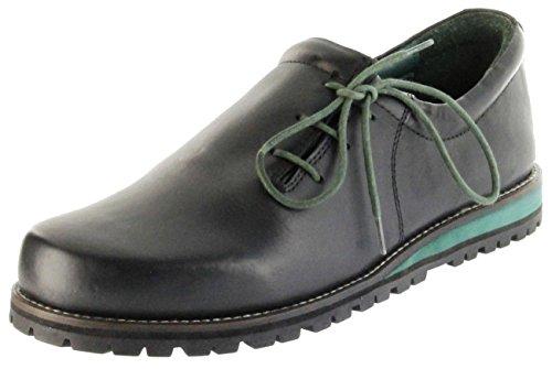 Bergheimer Trachtenschuhe Haferlschuhe schwarz grün Leder Herren Schuhe Fügen, Größe:44 EU, Farbe:schwarz
