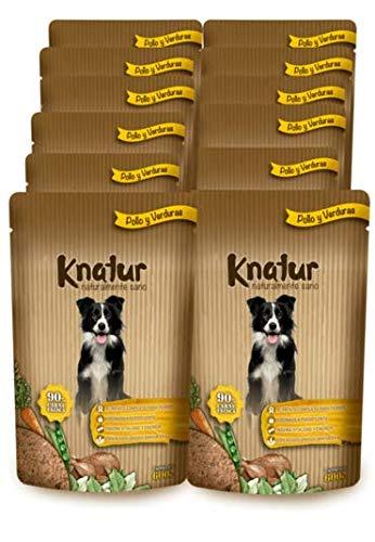 Cocido Natural casero para Perros, húmedo con Carne Fresca y Verduras Frescas - 90% Carne Knatur (12x600gr) (Pollo)