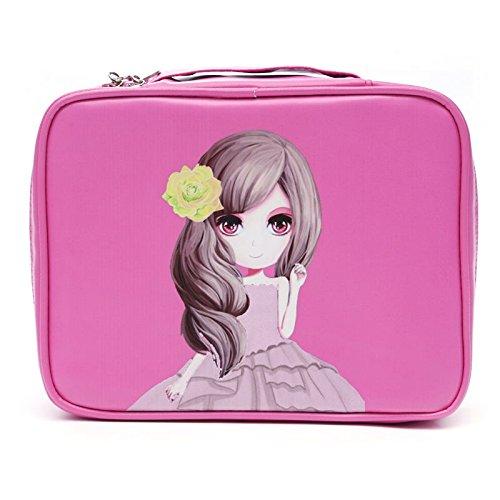 MZP Mme Corée du forfait d'admission cosmétiques grande capacité portable étanche petits kits de toilette de Voyage sac à main portable , square rose red