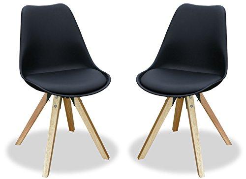 KMH®, 2er Set Designstuhl/Esszimmerstuhl Angie (schwarz) Beine Eiche massiv (#800056)