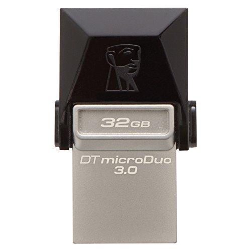 Kingston DTDUO3/32GB - Memoria USB de 32 GB (USB 3.0, Micro USB, 5 V, Flash), negro