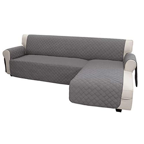 Easy-Going Funda de sofá en forma de L para sofá seccional, funda de sofá reversible para sofá, funda protectora de muebles, para mascotas, niños, perros, gatos (XL, gris/gris)
