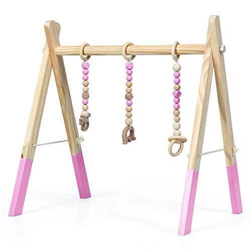 GOPLUS Palestra per Bambini in Legno, Palestrina Pieghevole di Legno con Altezza Regolabile per Bimbi, Trapezio Palestrina con 3 Giocattoli Sensoriali da Afferrare (Rosa)