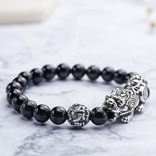 Feng Shui Riqueza Pulsera, Obsidiana Puro Plata Pixiu Traslado perlas pulseras, Elástico A Mano Tallado Mantra Talismán Brazaletes, Buena Suerte (6MM)