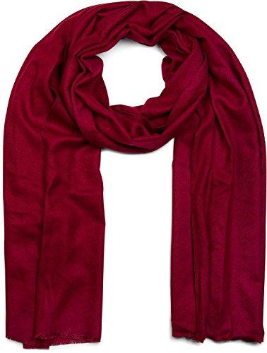 styleBREAKER weicher Stola Schal in Unifarben mit Fransen, Tuch, Unisex 01017070, Farbe:Bordeaux-Rot