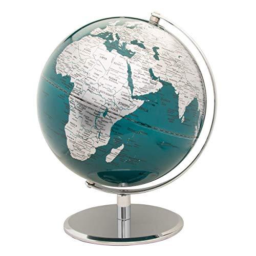 Wild Holz Globe 25,4cm, chrom/blau