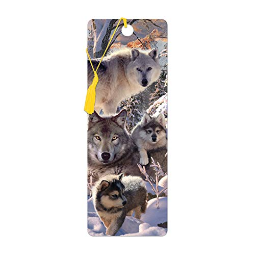 3D LiveLife Bookmark - Winter Wolves from Deluxebase. A Wolf Book Marker with lenticular 3D Artwork Licensed from Renowned Artist David Penfound