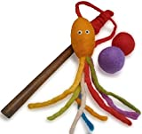 Earthtone Solutions Felt Cat Teaser Wand Toy - Organic Wool Squid Wand Toy Plus 2 Felted Ball Toys for Indoor Cats and Kittens (Cat Squid Toy)