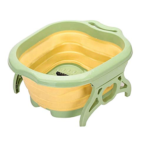 FITYLE Faltbare fuß einweichen badewanne eimer schüssel fuß bad für kallus entferner, eingebautes roller-design - Gelb