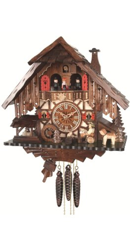 Engstler Quartz Cuckoo Clock Black Forest House with Moving Beer Drinker and Mill Wheel, with Music EN 487 QMT