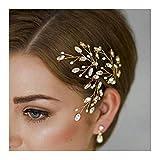 Edary Bridal Hair Pin Wedding Hair Accessories Crystal Flower Gold Clip for Bride and Bridesmaid(Gold,3PCS)