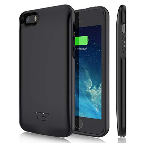Battery Case for iPhone 5/5S/SE (4.0 inch), YISHDA 4000mAh Rechargeable Battery Charging Case Magnetic Extended Charger Case Protective Backup Power Cover for iPhone 5/5S/SE-Black (Not Fit 5C/SE 2020)