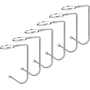 Sunshane 6 Pieces Christmas Stocking Holders Mantel Hooks Hanger Christmas Safety Hang Grip Stockings Clip for Christmas Party Decoration Silver