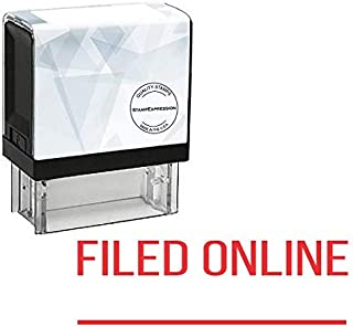StampExpression - Filed Online with line Office Self Inking Rubber Stamp - Red Ink (A-5520)