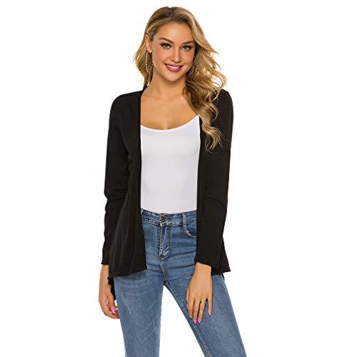Pinhan Fashion Cardigans mit offener Vorderseite und Langen Ärmeln Leichter, lässiger Wasserfall-Mantel Sommer-Freizeit-Cardigan, schwarz, XL