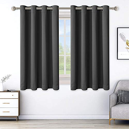 LORDTEX Blackout Curtains for Bedroom, Thermal Insulated Blackout Drapes with Grommet Top, Room Divider - Noise Reducing and Light Blocking Window Treatment Panels (Dark Grey, 52 x 45 inch)