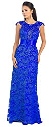 Royal Blue Cap Sleeve Rhinestones Lace Dress #27182