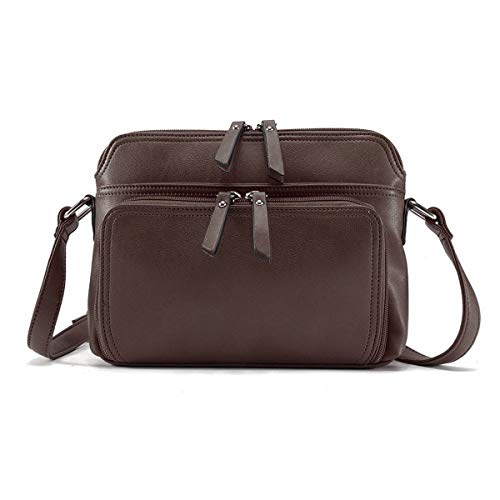 Brenice Women Solid Multi-pockets Casual PU Leather Crossbody Shoulder Bag Coffee