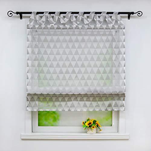 Joyswahl Raffrollo transparente Raffrollos mit Rautenmuster »Xenia« Schals mit V-Schlaufen Fenster Vorhänge BxH 80x140cm Grau 1er Pack