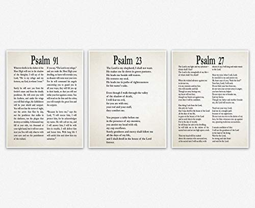 WallBuddy Psalm 91, Psalm 27, Psalm 23 Wall Art Ivory (8x10) Set of 3 Bible Verses Wall Decor, Book of Psalms Spiritual Decor for Home-Office, Church
