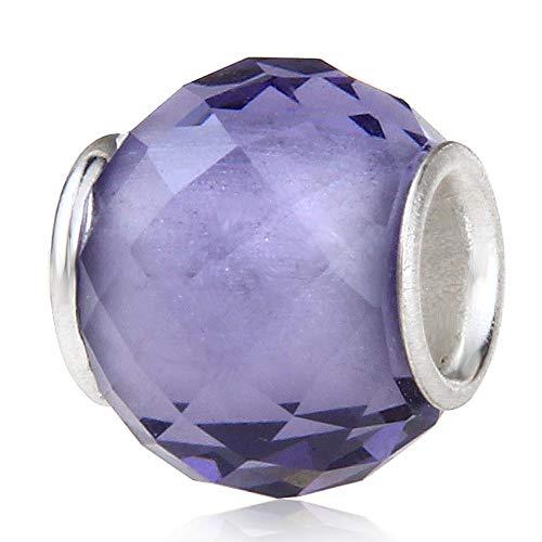 Charm in argento Sterling 925 con vetro di Murano, portafortuna per compleanno, anniversario, per braccialetti Pandora, colore: viola