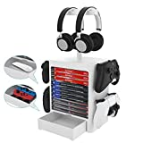 Game Storage Tower Stand compatible for PS5/PS4/Xbox Series/XboxOne/Switch Accessories Game Headset Hanger Organizer
