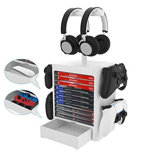 Multifunktions Game Storage Tower Ständer, 10 CD Game Disc Rack und 4 Controller/Headset-Ständer kompatibel mit PS5/PS4/Xbox Series/XboxOne/Nintendo Switch-Zubehör