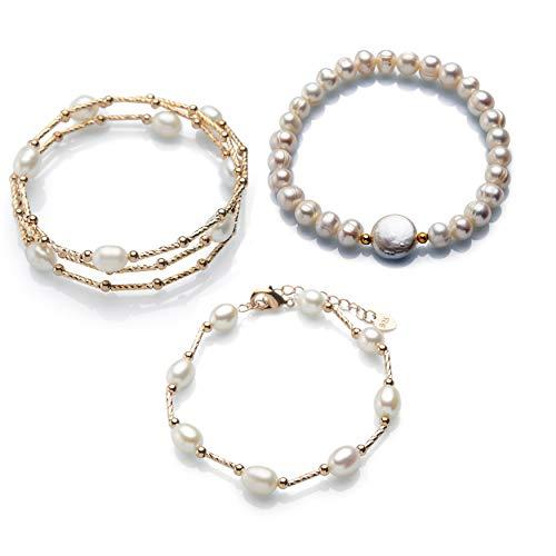 3 x Pulseras de Perlas y Plata chapada en Oro Rosa 18K.Set de Pulseras para Mujer,Perlas cultivadas de Agua Dulce