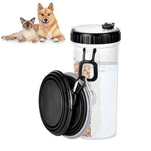 350ml Hunde Wasserflasche, Queta Hunde Trinkflasche Mit 2 Hundenapf Faltbar, Hunde Katze Haustier Wasserflaschen FüR Unterwegs Outdoor Camping