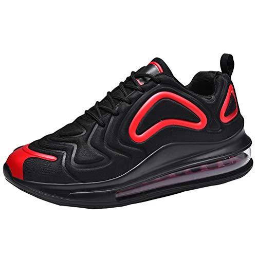 Scarpe da Corsa Uomo Donna Scarpe da Ginnastica Fitness Sneakers Interior Outdoor Casual Sneaker Nero-Rosso 46