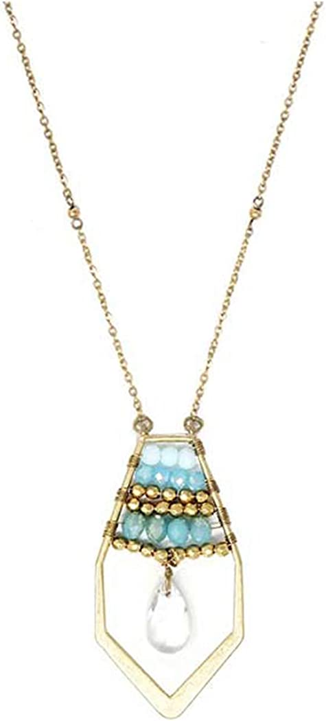 Fashion Jewelry ~ Multi Bead and Facet Stone Teardrop Pendant Long Chain Necklace Goldtone for Women Teens Girlfriends Birthday Gifts