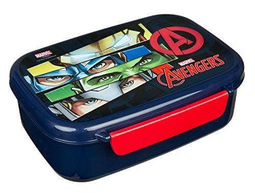 Scooli AVER9903 Brotzeitdose aus Kunststoff mit Zwei Clips, Marvels The Avengers, leicht zu öffnen und zu schließen, BPA und Phthalat frei, ca. 18 x 13,5 x 6 cm