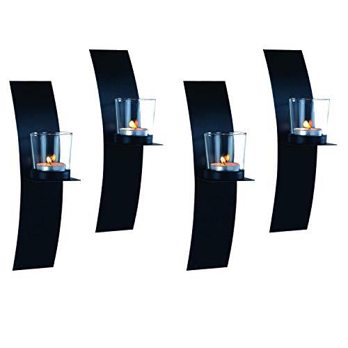 Dekoratives 4'er Set Wandkerzenhalter für Teelichter aus Metall für Teelichter