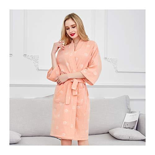 MGHN Bata de baño Primavera Verano sección Delgada señoras 100% algodón Albornoz Doble Gasa Yukata Jacquard Pareja camisón casero Belleza SPA (Color : Orange, Size : Large)