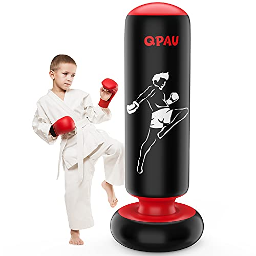 QPAU Inflatable Punching Bag for Kids 66 inches Punching Boxing Bag Freestanding Sport Bag for Karate Taekwondo Kick MMA to Relieve Pent Up Energy in Kids and Adults Best Toy Gift for Boys
