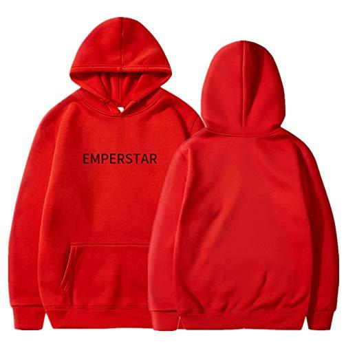 EMPERSTAR Sudadera con Letras Sudadera con Capucha Estampada Hombres Mujeres Guard Pullover Sweater Rojo L