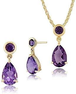 Gemondo 9ct Oro Amarillo Amatista Natural Dos Pendientes Piedra y 45cm Collar Set