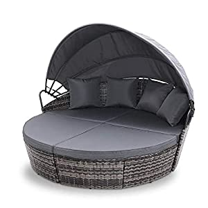 EVRE Luxury Rattan Outdoor Daybed With Canopy Mixed Grey