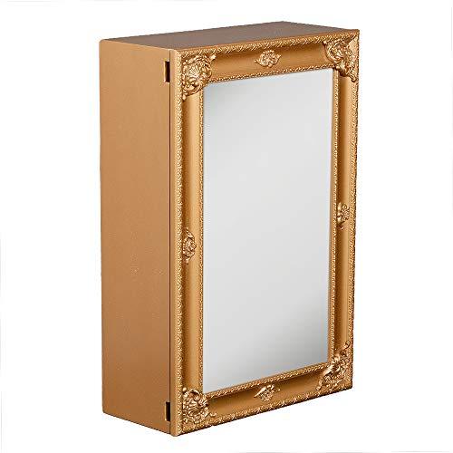 LEBENSwohnART Spiegelschrank MARA Gold ca. 40x60cm Holz Badschrank Spiegel Barock Schiebetür