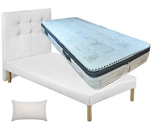 Cama individual sin contenedor, de piel sintética, color blanco, elegante + somier de láminas de madera de haya + colchón con memoria de 22 cm desenfundable + almohada de fibra 3D