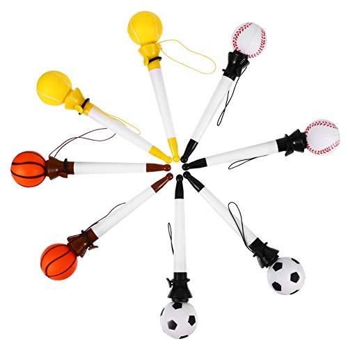 TOYANDONA 8 Piezas de Bolígrafos Retráctiles para Hacer Clic Bolígrafos para Baloncesto Fútbol Tenis Bolígrafo Diseño Manual Retráctil para Niños Estudiantes Estilo Surtido