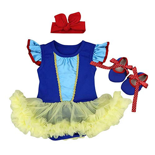 Newborn Baby Girls Outfit Snow White Pumpkin Reindeer Dress Up Halloween Christmas Princess Fancy Costume Flutter Sleeve Bodysuit Romper Dress Birthday Bowknot Party Clothes Blue 0-3 Months