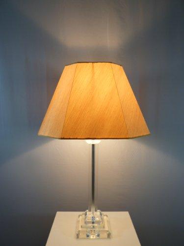Dapo Tischleuchte mit LED Leuchtmittel, Lampe mit Kristallfuß und Seiden - Stoffschirm, Kristallleuchte Tischlampe (klar-Gold, Bence 56 cm)