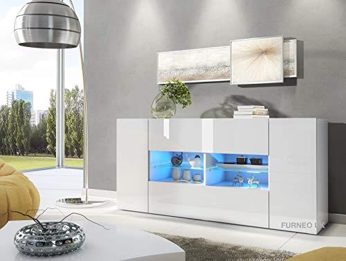 Furneo White Sideboard Cabinet Cupboard 160cm Unit Matt & High Gloss Sarenzo01 Blue LED Lights