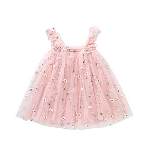 Vestido Niña Princesa de Tul con Tirantes Estampado de Girasol Sin Mangas Vestidos para Niñas Ropa Bebe Recien Nacido Niña Verano 1-5 Años (Rosa, 2-3 años)