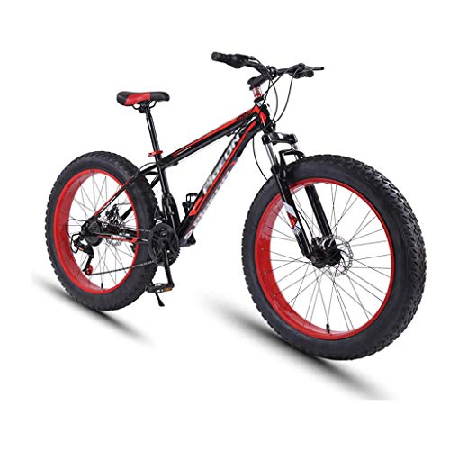 24 Speed Mountain Bikes, 26 Inch Fat Tire Mountain Trail Bike, High-Carbon Steel Frame, All Terrain Mountain Bike with Dual Disc Brake