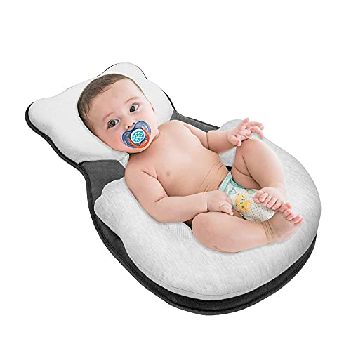 RHEETADA Portable Baby Lounger Pillow Comfort Baby Pillow Cute Bear Baby Nest Newborn Lounger Baby Sleep Positioning Travel Crib Prevent Flat Head Pillow for 0-6 Months Newborn