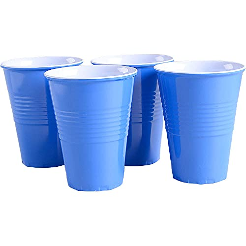 """""""What Is It?"""" Reusable Blue Melamine Cups / Glasses, 4.75 Inch Melamine, Set of 4"""